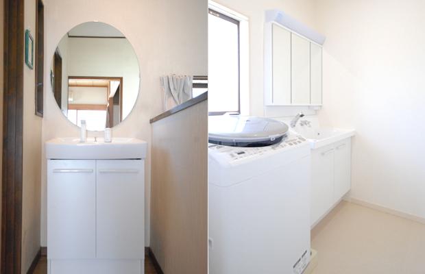 after:1階の洗面は浴室に揃えてホワイト一色に。2階は既存の楕円の鏡を活かして洗面台のみをお取替。