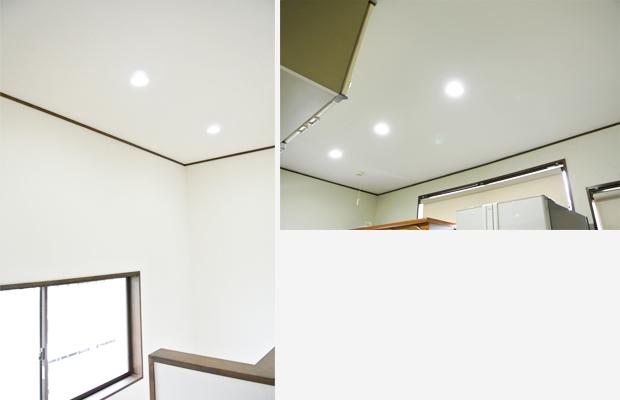 after:ダウンライトにすればホコリ溜まりも気になりません。LEDの明るさがさわやかな空間を演出します。