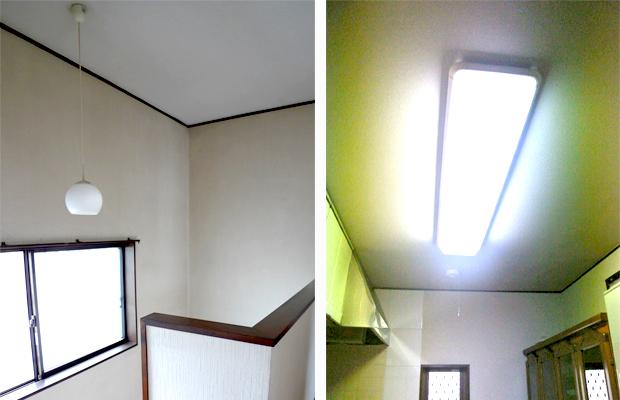 before:この際玄関?廊下、キッチン各部屋の照明も取り替えることに。