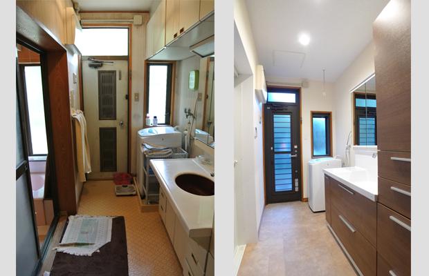 before-after:あまり使っていなかった吊戸棚は撤去しすっきりとさせました。