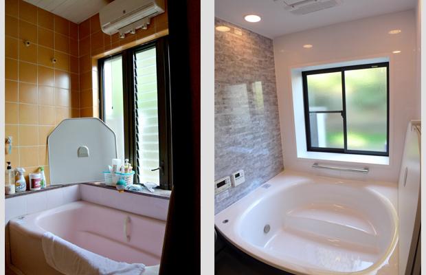 before-after:1.5坪のシステムバスにはゆったりとした浴槽が特徴のTOTOを選びました。開かなくなってしまったガラリ窓も取り替えました。