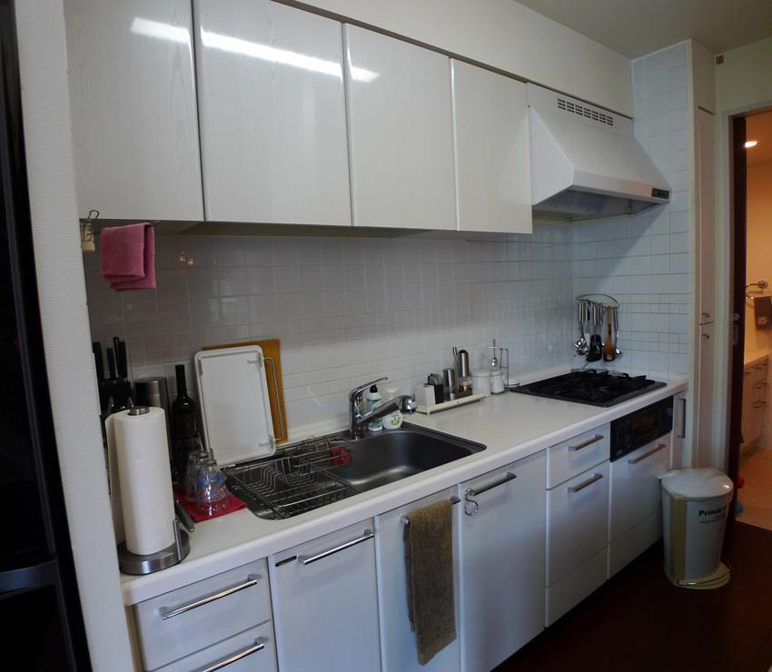 Before:壁のタイルには油の汚れが染み込みお掃除が大変。ビルトイン食洗機の導入も希望されていました。
