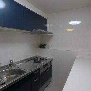After:I型キッチン+背面収納キャビネットヘ